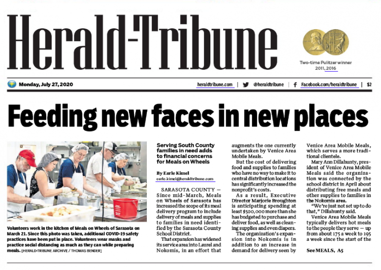 Herald-Tribune Article Preview: https://grapevinepublicrelations.net/pandemic-deliveries-stretch-resources-at-meals-on-wheels/